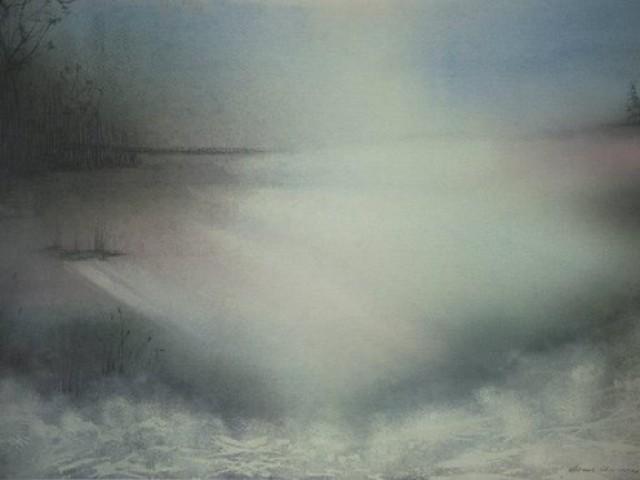 Dawn lake. 100/80cm