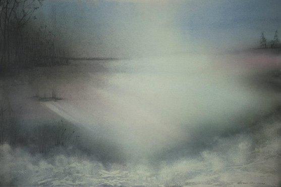 Dawn lake. 100:80cm
