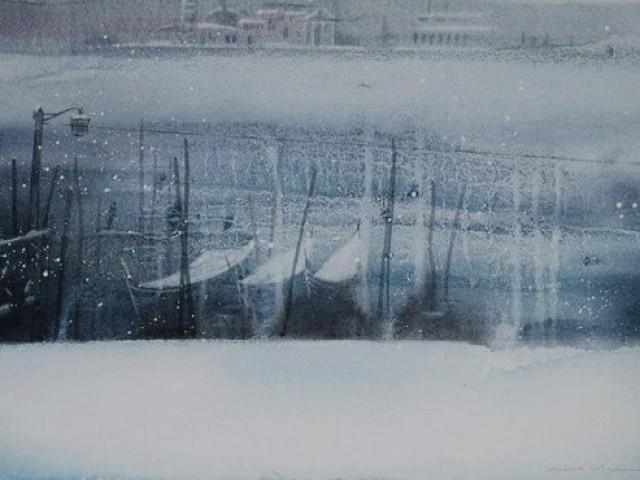 Venice Boats in Snow  56/36cm