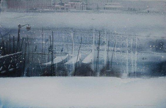 Venice Boats in Snow  56:36cm