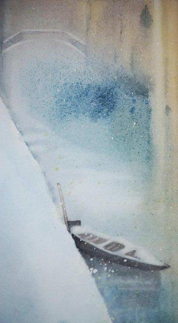 Venice bridge in snow. 40:55cm